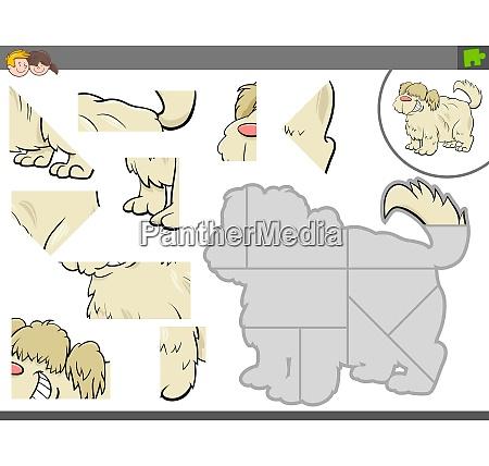 puzzle spiel mit niedlichem hund