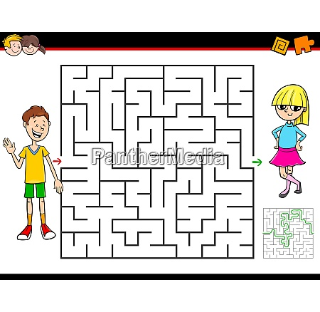 cartoon maze game with boy and