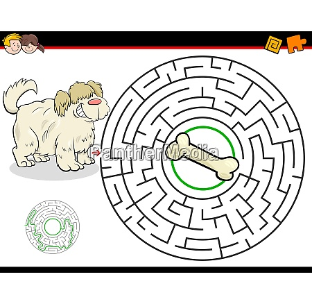 cartoon maze game with dog and