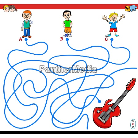 paths maze game with boys and