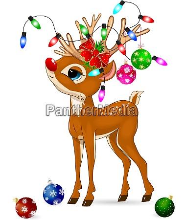 hirsche mit weihnachtsdekoration hirsche und weihnachtsdekorationen