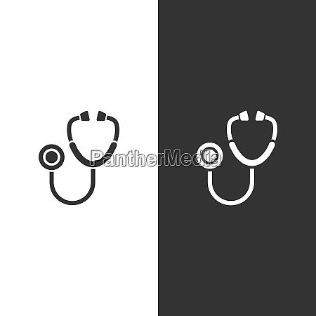stethoscope flat icon on a black