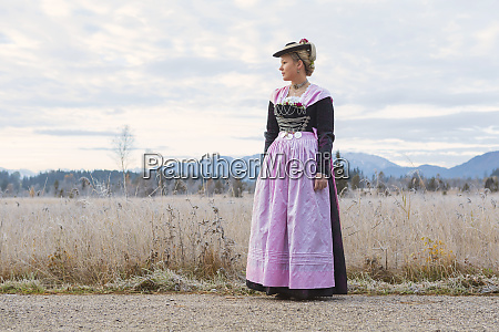 young woman in bavarian festival costume