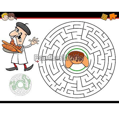 cartoon maze game with baker and