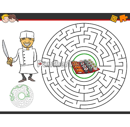cartoon maze game with chef and