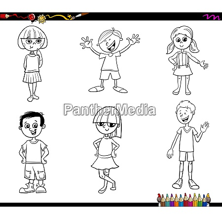 kids or teen characters set coloring