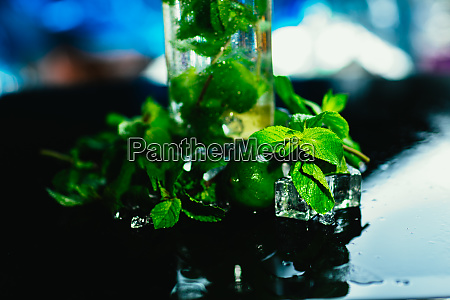 mojito bottle with lime and mint