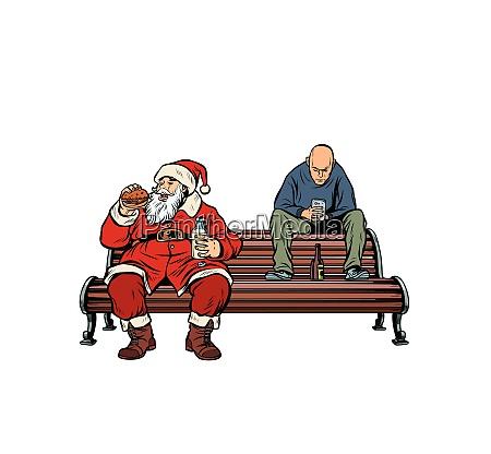 weihnachtsmann isst fast food burger hooligan