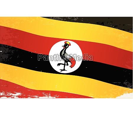 uganda grunge flagge