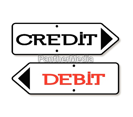 kredit debit pfeile