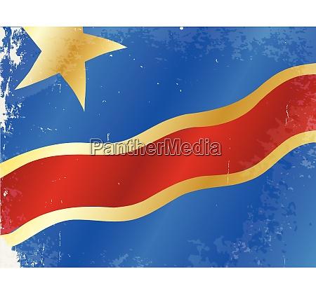 demokratische republik kongo flagge grunge