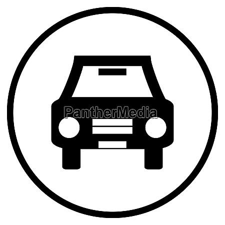 auto ikone im schwarzen kreis