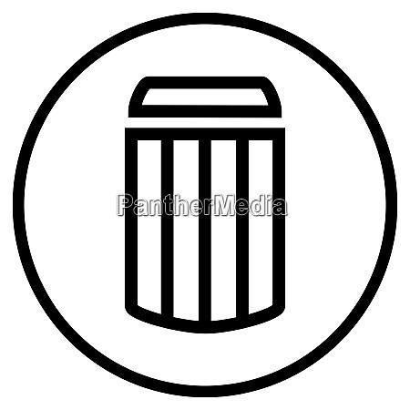 trashcan symbol im schwarzen kreis