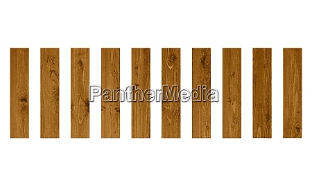 10 isolated wooden planks