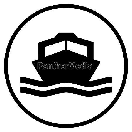 motorboot symbol in schwarzem kreis
