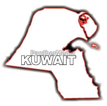umrisskarte von kuwait