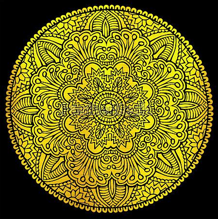 mystische runde goldene goldene mandala florale