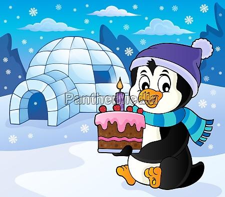 pinguin haelt kuchen thema bild 5