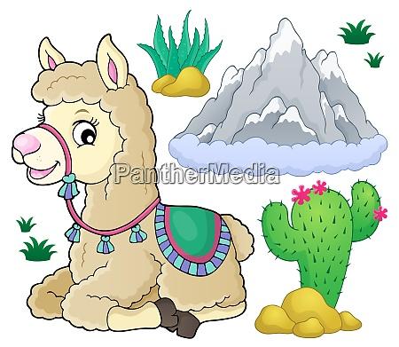 llama and nature theme set 1