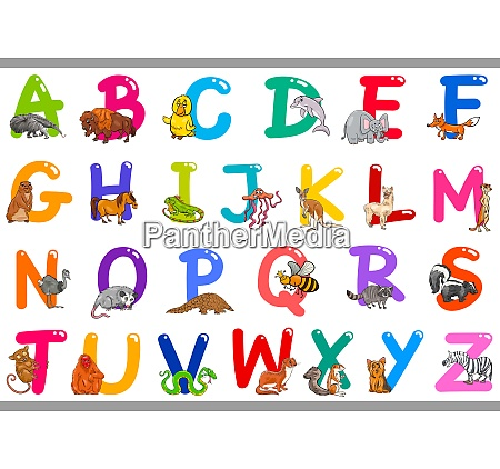 cartoon alphabet with animal characters