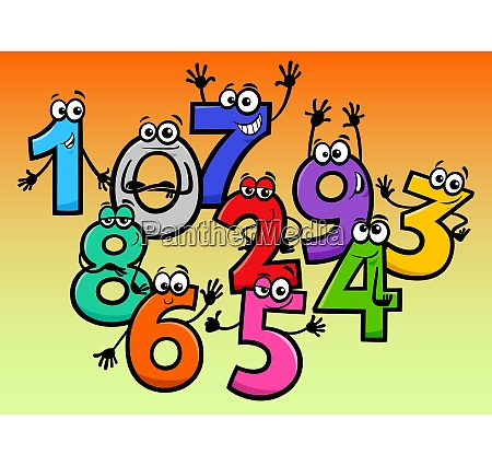 happy basic numbers cartoon characters