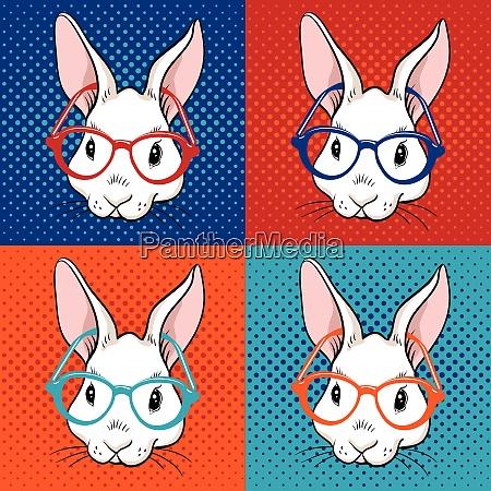 rabbit pop art illustration
