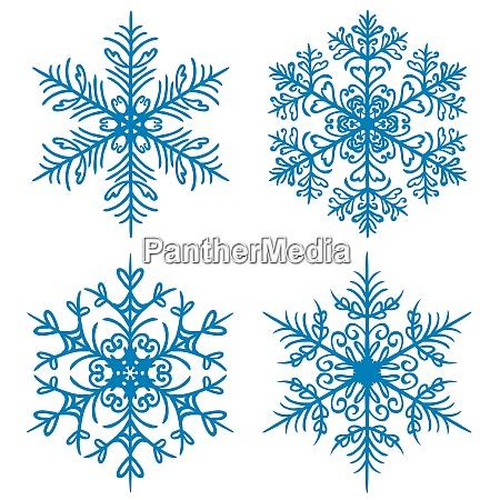 snowflake winter silhouettes on white background