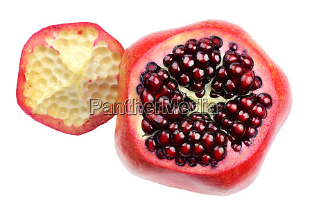 ripe pomegranate and intact seeds
