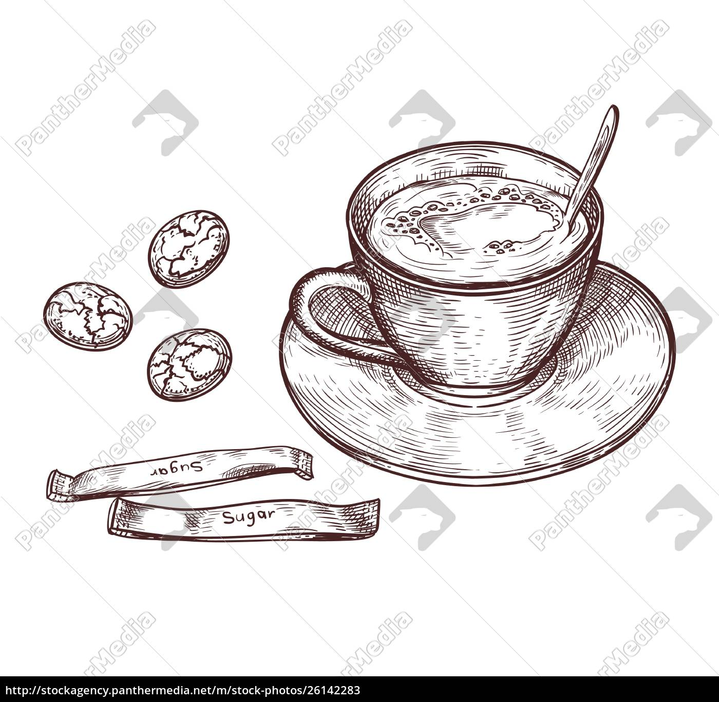 hand, drawn, cup, of, hot, drink - 26142283