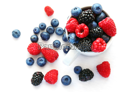 blueberries raspberries and blackberries