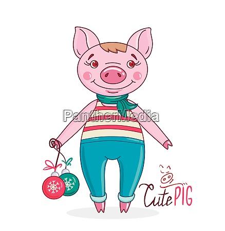 little cute pig in cartoon style