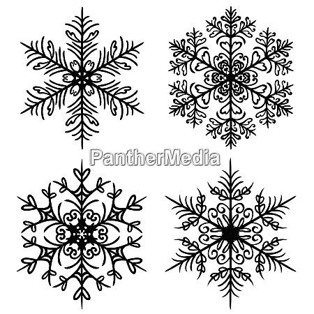 decorative snowflakes set on white background