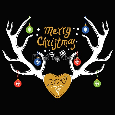 christmas design with reindeer antlers isolated