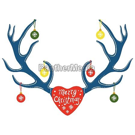 deer antlers hand drawn style vector