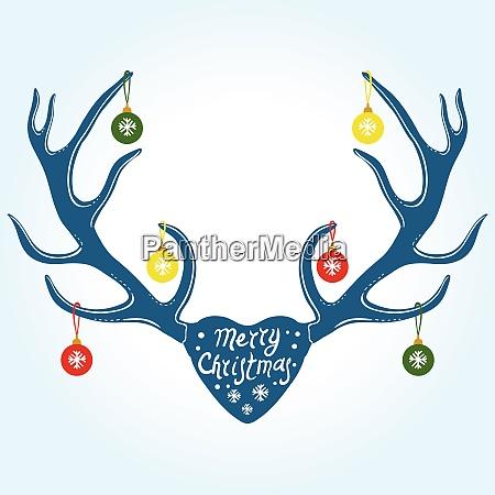 christmas decoration on reindeer horns vector