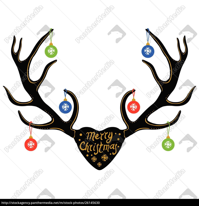 weihnachtsdekoration, auf, rentierhörnern, silhouette, isoliert, auf, weiß, vektor - 26145630