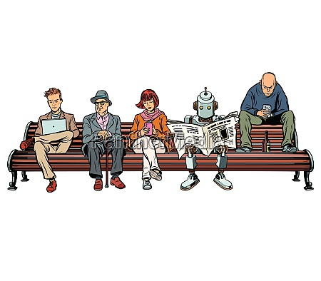 people and a robot sitting on