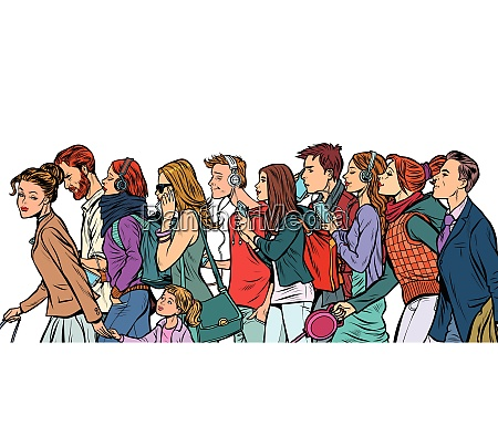 the crowd of pedestrians men and