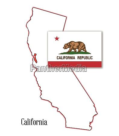 california state karte und flagge