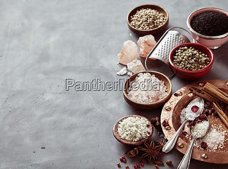 border of natural cooking salts and