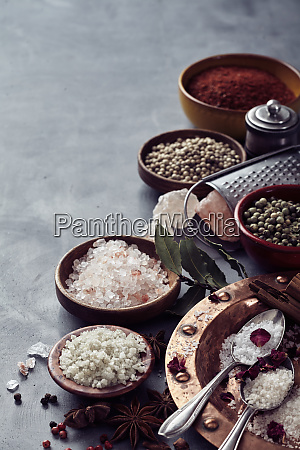 assorted mixed global salts in a