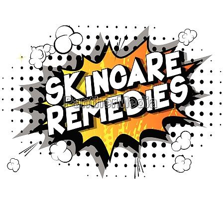 skincare remedies comic buch stil woerter