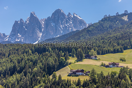 villnoess valley with dolomites