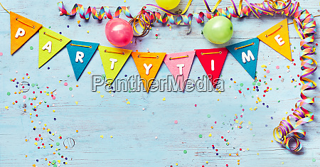 festive party time banner with copy