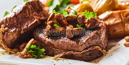 tender thick rare roasted beef fillet