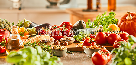 panorama banner with fresh ingredients and