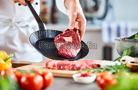 chef placing a thick tender rump
