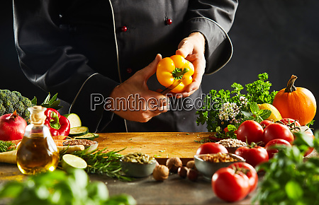 chef slicing a fresh yellow sweet