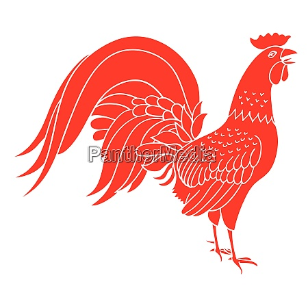 silhouette of red cock