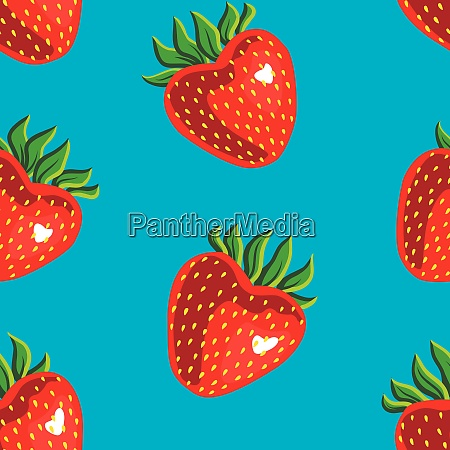 seamless pattern of strawberries on a